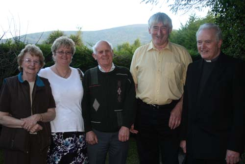 Pictured at the Annual May Mass at Tubrid Holy Well – Essie and Peter Roche with Fr. Seán Tucker and Friends from Kerry.
