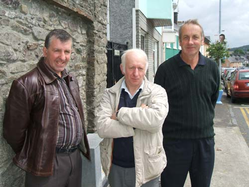 John, Pat and Gerdie from Aubane, Millstreet await the results of the local Elections following the 11.00 a.m. Mass on Sunday, 7th June.