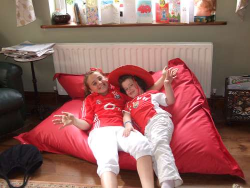 Chloe Collins and Clara O'Keeffe all dressed in their cork colours to support the girls football team on Sunday the 27th September.