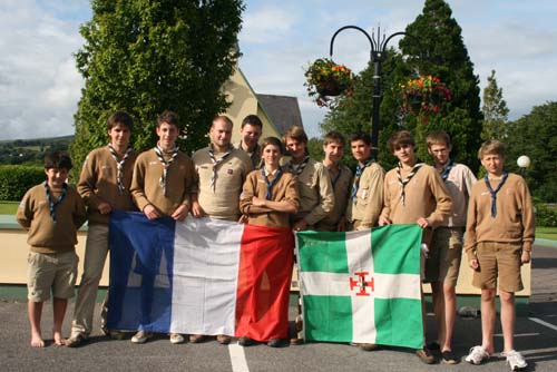 French Scouts – one of two groups – who visited  and overstayed in Millstreet during the Summer…pictured here in Ballyvourney