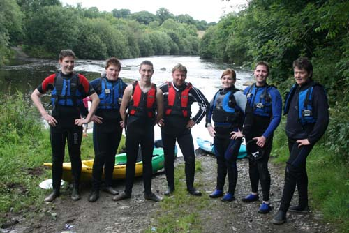 Getting ready for kayaking on the river Blackwater during the Summer