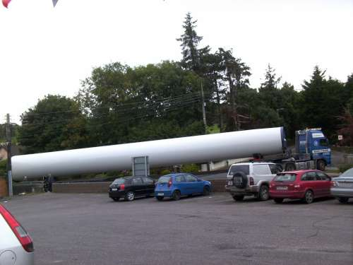 A windmill being tranported up Tullig pictured from Dairygold on 29th September (pic. Michelle O'Keeffe)