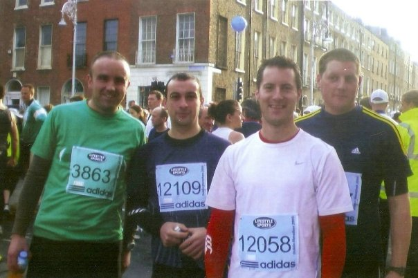 Paidi (12058) and Liam (far right) Burke who ran the Dublin Marathon this year, pictured before the start of the race