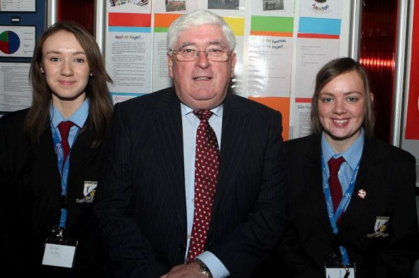 Jennifer Murphy and Deirdre McAuliffe from  Millstreet Community School with Minister Batt O'Keeffe at the BT Young  Scientist and Technology Exhibition in the  RDS