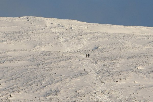 Two brave walkers climbing Mushera yesterday