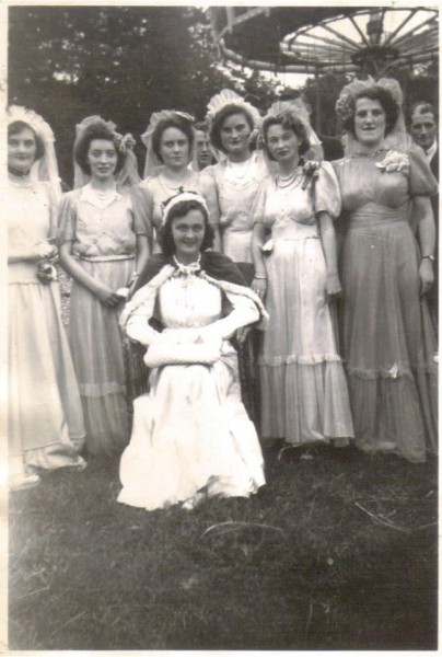 Millstreet Carnival Queen 1949 Mary Frances Mulcahy, with her Ladies in waiting: Dole O'Byrne (West End), Miss Collins (Rathcoole), Mary Hickey (Main Street), Kitty O'Leary (West End), Hannah Mary Moynihan, Estie Cashman-Manley (Tullig House)