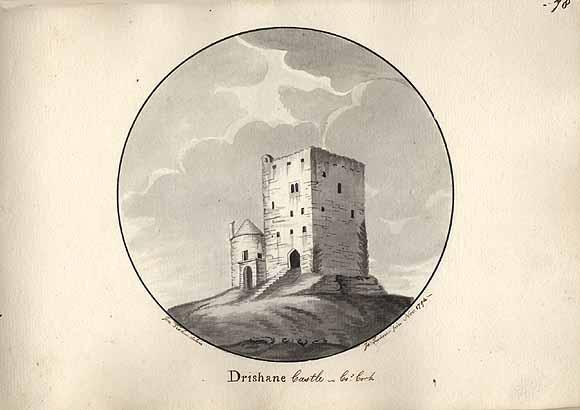 Drishane Castle in ink, by Jonathan Fisher & Rev Joseph Turner, Nov. 1794