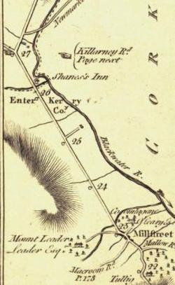 1797 Taylor Skinner Road Map page 180 - Millstreet to Rathmore (Shinnagh Cross) ... a dead straight road