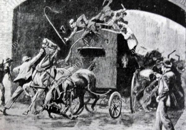 Engraving depicting the rescue of Thomas J. Kelly and Timothy Deasy from a prison van during the Fenian Outrages-1000-800