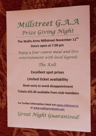 Poster for Millstreet GAA Prize Giving Night 2011