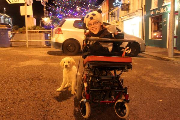 Joanne with Marley the dog at the Christmas Tree launch on 26/11/2011