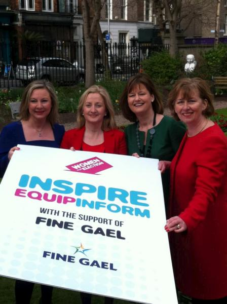 2012-03-08 Aine Collins TD promoting Women for Election on International Womens Day - with Seanad members Imelda Henry, Deirdre Clune, and Cait Keane