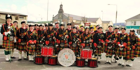 Millstreet Pipe Band pictured having participated at Mass and having given a recital in the Church Grounds on St. Patrick's Day 2012.