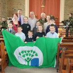 Following a superb presentation in Derrinagree Church on Tuesday, 12th June 2012 by the wonderful Army Band 1 Southern Brigade the Green Flag was presented to Derrinagree N.S..  Pictured here are the many talented people involved in the very successful project.  (S.R.)