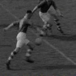 1949 Cork Captain Johnny O'Keeffe shoots for goal in the 1949 All Ireland Semi Final