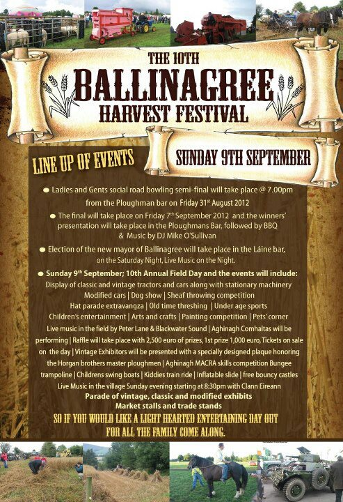 The 10th Ballinagree Harvest Festival Sunday 9th September 2012