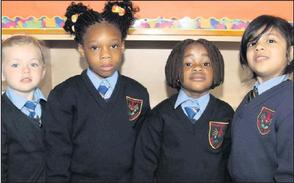 2012-09-04 Aoibhe Cullinane, Victory Okharedia, Nomthandazo Nonkonyana, and Hania Zammir started school in Millstreet - photo from the Corkman