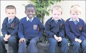 2012-09-04 Oliver Strizzi, Joseph Titilayo, and twins Cian and Tom O Connor started in Junior Infants at Presentation School, Millstreet - photo from the Corkman