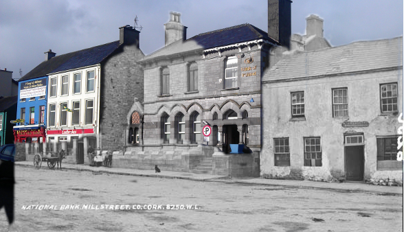 The Bank Building in the Square, Millstreet - Merging 1910 and 2012 views - created by John O