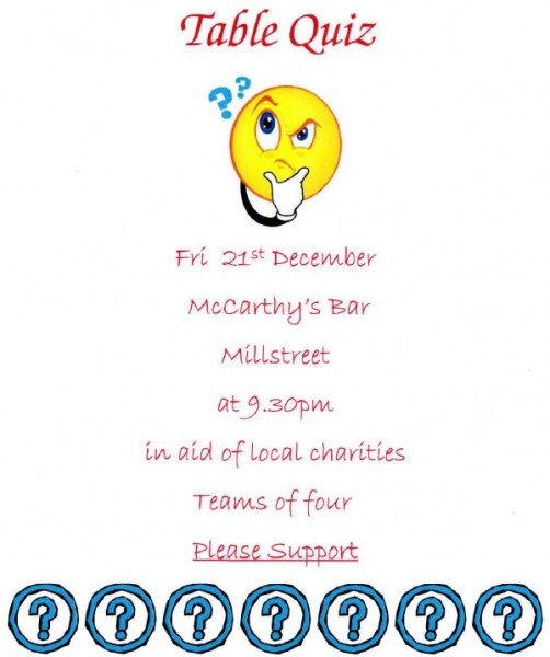 2012-12-21Table Quiz in McCarthy's Bar in aid of local charities - poster