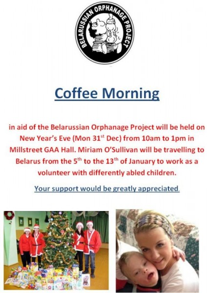 2012-12-31 Coffee Morning in aid of the Belarussian Orphanage Project - poster