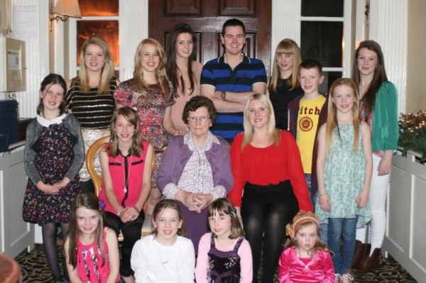 Mary Agnes Murphy Rathduane, Rathmore, recently  celebrated her 90th birthday in Springford Hall Mallow pictured here surrounded with all her grandchildren