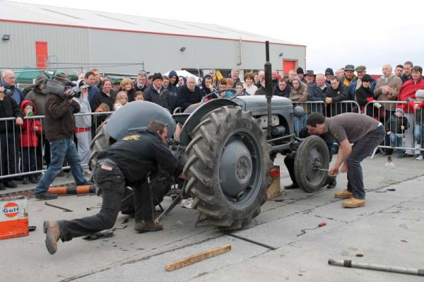 This is the outdoor Tractor Build event which took place in April 2012 at the K&L Complex in Millstreet.   On next Sunday, 16th Dec. at 3.30 p.m. the Tractor Build project will take place INSIDE the Pub in Carriganima by the Broomfield Vintage Group in aid of Suicide Aware.   Great credit is due to Seán and Matthew for organising this very important and quite unique event.   All are very welcome.  (S.R.)