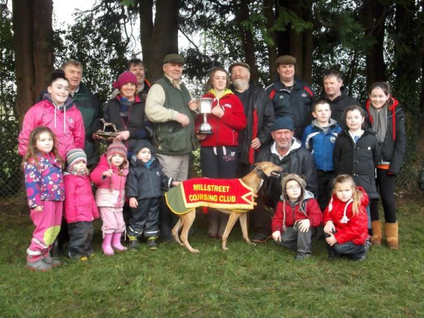 2013-01-05 Mary, Chloé and Teddy Collins' dog Come On Bella kept the Oaks Trial Stake at home in Millstreet this year, pictured above with family and friends (photo Seán Radley)