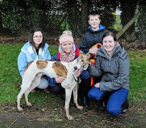 2012-01-05 Coursing - John Kennedy jr with sisters Laura and Marie and Megan Faul after his dog Cracking Lord won the Derby Trial Stake