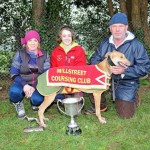 2012-01-05 Coursing - Mary, Chloé and Teddy Collins with Come On Bella, Oaks Trial Stake winner 02