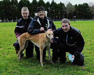 2012-01-05 Coursing - Michael Collins with Barrow Saunders, North Cork All Age Cup winner