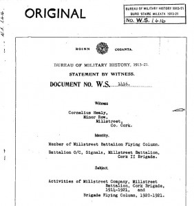 2013-01-07 Bureau of Military History - Con Healy Witness Statement - front page