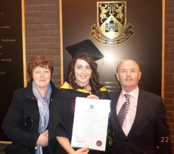 2013-01-22 Lisa Kelleher from Ploverfield, at her graduation from Nursing in UL, with her parents Donal and Kathleen