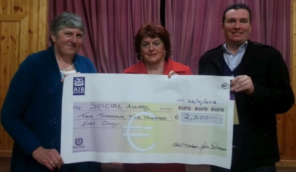 2013-01-23 Mary Buckley, Pat Behan, and John F Kelleher at the presentation of the proceeds from the Mushera Christmas Day Climb to Suicide Aware