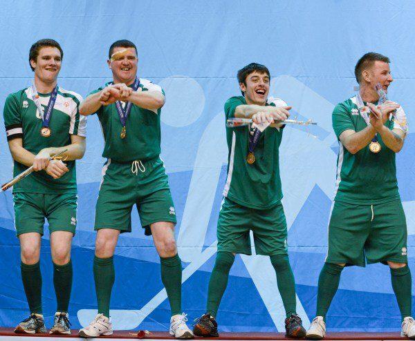 2013-01-31 The Irish Floorball Team at the Special Olympics in Korea - Brendan O'Sullivan and the team do Gangnam Style