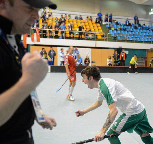2013-01-31 The Irish Floorball Team at the Special Olympics in Korea - Brendan O'Sullivan celebrates a goal