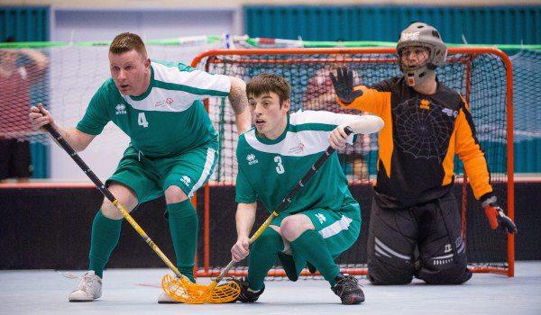 2013-01-31 The Irish Floorball Team at the Special Olympics in Korea - Brendan O'Sullivan defends the goal