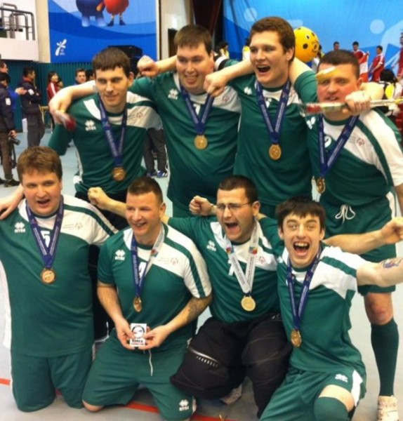 2013-01-31 The Irish Floorball Team at the Special Olympics in Korea - Brendan O'Sullivan of Rathduane is at the front-right