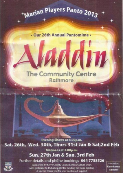 2013-01 Aladdin by the Marian Players Panto - poster