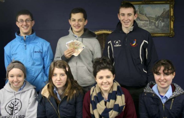 Photo (back row left to right):Conor Twomey, Oisin Murphy (carrying a valuable prop from the play), Nathan Harman<br /><br /> (Front row left to right):Muireann Buckley, Emma Kelleher, Eimer Pigott, Marie Farrell.<br /><br />