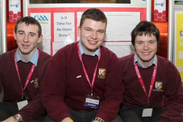 Nathan Harman, Darragh Hickey and Sean O'Callaghan from Millstreet Community School with their project 'Algorithm for seeding Gaelic football teams' at the BT Young Scientist and Technology Exhibition in the RDS Dublin