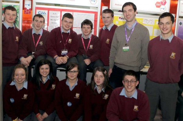 group of Millstreet Community School Students at the RDS  with their teacher Mr.Shane Guerin