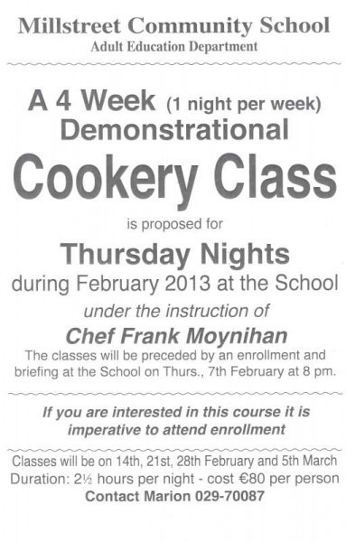 Cookery Class poster 2013