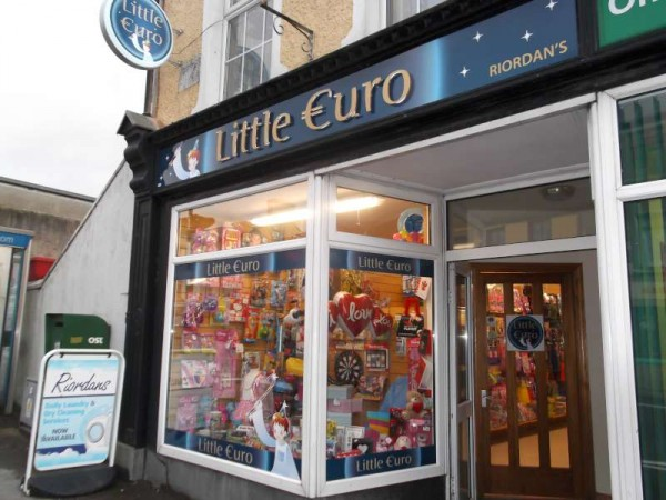 "The bright new ""Little Euro"" shop opened for business on Friday, 1st February 2013.  It is located next to the Post Office and had of course been the long established O'Riordan's Drapery shop which for decades had been a very well known business in the centre of the town.  (S.R.)"