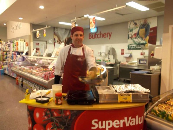 Celebrating Pancake Tuesday 2013 at Supervalu Millstreet today.  Customers were delighted to receive taste samples of freshly made pancakes.
