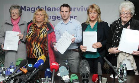 2013-02-05 Steven O'Riordan (spokesman) with some of the Magdelene Survivors at a press conference this week (photo C103)