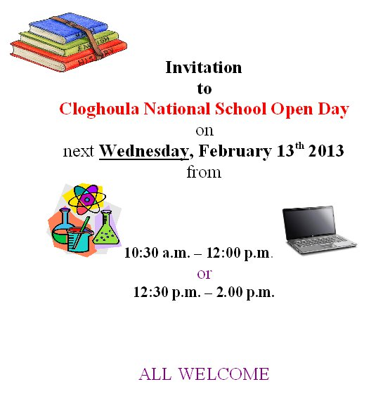 2013-02-13 Cloghoula National School Open Day - poster