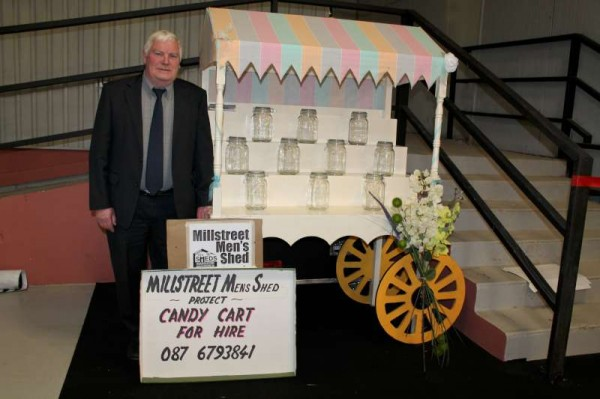 "Bertie Buckley of Millstreet  Men's Shed displaying their wonderfully impressive ""Candy Cart"" at the Bride and Groom Show in Green Glens on Sunday, 10th February 2013.  (S.R.)"