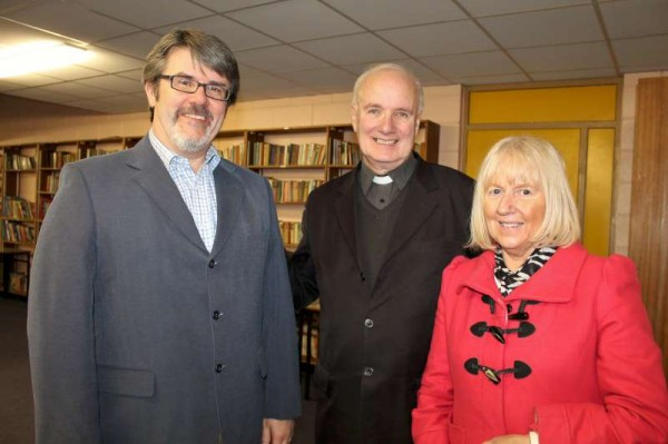 Chaplain John Magee extends a warm welcome to Rev. David Armstrong and his wife, June at Millstreet Community School tonight.