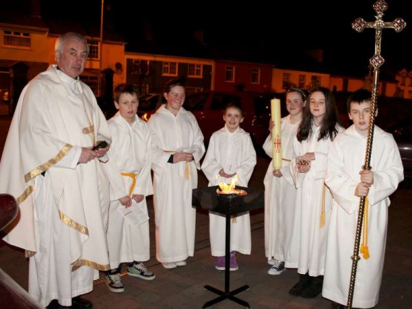 The annual Easter Vigil was conducted by Canon John Fitzgerald in St. Patrick's Church, Millstreet on this Holy Saturday night from 9pm.   The symbol of light is very much in evidence as the congregation held the blessed candles.   Happy Easter to All - anv very especially to our many loyal Millstreet website followers.  (S.R.)